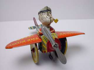 Rare Early Version Marx Popeye The Pilot Tin Windup Toy