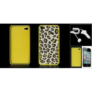 Gino Yellow Hard Plastic Leopard Print Back Case + Car
