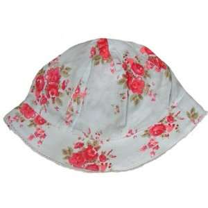 Powell Craft Blue with Red Roses Flower Print Baby Girls Sun Hat   To