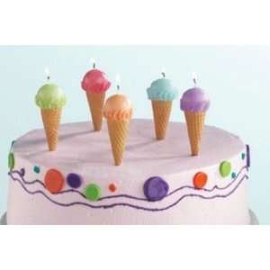 Set 5 Ice Cream Cone Shaped Birthday Cake Candles