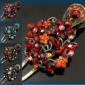 ADDL Item , 1 pc antiqued crystal rhinestone flower hair
