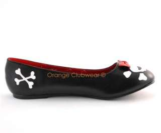 PLEASER Rockabilly Skull Gothic Flats Womens Punk Shoes