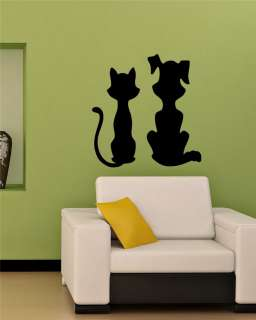 KITTEN AND PUPPY CAT DOG FUNNY ANIMAL WALL VINYL STICKER DECALS ART