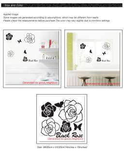 Black Rose Flower Removable Wall Sticker Decal GS10
