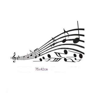Music Note Pattern Graffiti Wall Home Decor Mural Decal Removable