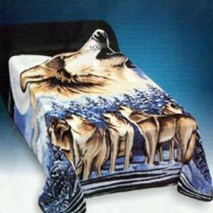 HOWLING WOLF Queen Korean Mink Blanket