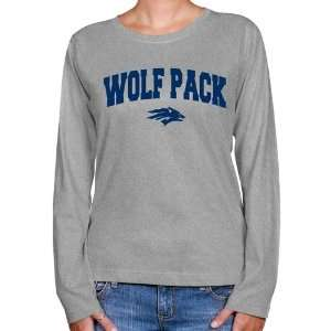 Nevada Wolf Pack Ladies Ash Logo Arch Long Sleeve Classic