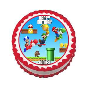 SUPER MARIO LUIGI Edible Cake Image Party Decoration