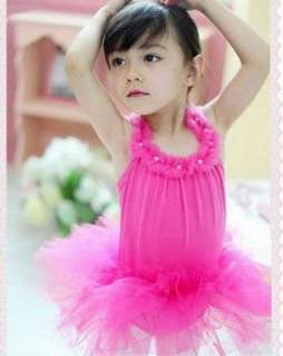 Girl Pearl Party Leotard Ballet Tutu Skirt Dress 1 4 7Y