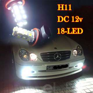 New White 18 SMD LED Car Light Headlight Bulb 12V H11
