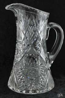 Nice Large Antique American Brilliant Cut Glass Pitcher