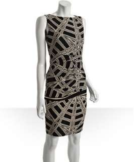 Nicole Miller black silk structural design printed dress   up