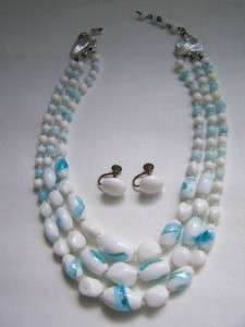 ART DECO Venetian FOIL 3 Strand GLASS Bead NECKLACE Earrings
