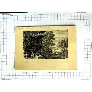 Antique Etching Country Scene Deer Stag Winged Man