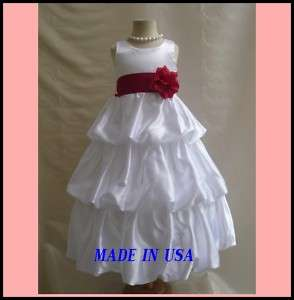 NEW WHITE APPLE RED PAGEANT BRIDAL FLOWER GIRL DRESS
