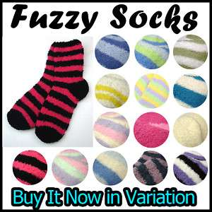 Womens Fuzzy Warm Soft Fleece Sleeping Bed Socks Stripe