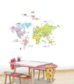 Map of World Wall Decor Removable Sticker Art Decals