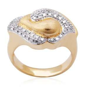 18k Yellow Gold Plated Sterling Silver Diamond Accent Ring