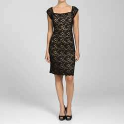 Connected Apparel Womens Black Lace Cap Sleeve Dress