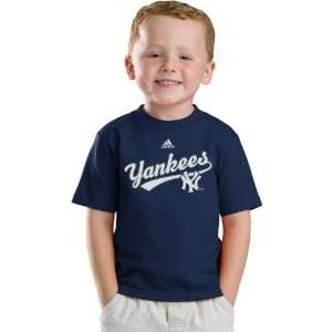 New York Yankees Navy Adidas New Script Kids 4 7 T Shirt