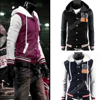 Mens R Baseball Hoody Hoodie Jacket Uniform Slim Fit Coat Jacket
