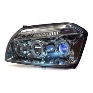05 07 Dodge Magnum black Dual HALO LED Projector Headlights + Light