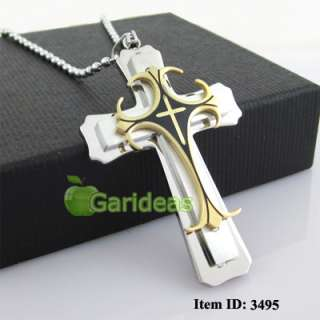 Mens Stainless Steel Cross Chain Pendant Necklace Cool Item ID3495