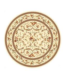 Collection Traditional Ivory/ Ivory Rug (5 3 Round)