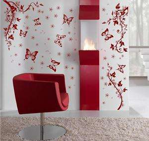 Floral Swirl Flower Butterfly Branch Wall Sticker Decal
