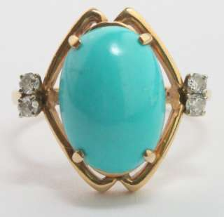 Robins Egg Blue Persian Turquoise 14K Yellow Gold Ring w/ Diamond
