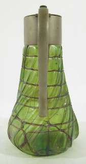 Antique Art Nouveau Jugenstil Iridescent Glass Claret Jug Pitcher