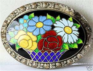 VINTAGE ANTIQUE ART DECO ENAMEL FLOWER BASKET PIN