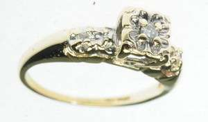 ANTIQUE LADIES 10K YELLOW GOLD DIAMOND ENGAGEMENT ESTATE RING J213042
