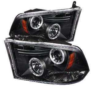 Dodge Ram 1500 09 10 Halo LED Projector Headlights   Black