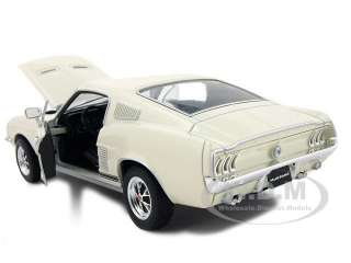Brand new 124 scale diecast car model of 1967 Ford Mustang GT Cream