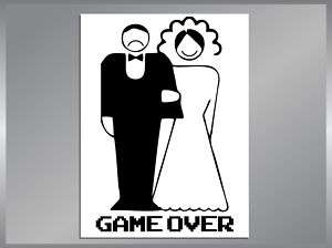 Marriage is GAME OVER Funny Bumper Sticker car decals