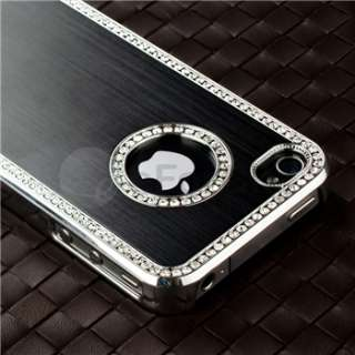 Luxury Diamond Hard Cover+Bling Case For iPhone 4 G 4S Silver+Pink