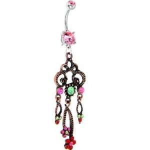 Pink Gem Multi Colored Flower Drop Chandelier Belly Ring Jewelry