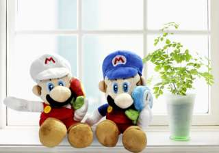 Super Mario Bros Plush Doll Toy Set #blue+white
