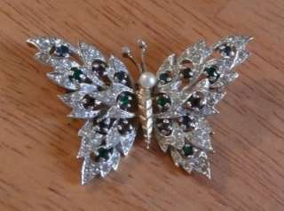 Vintage Signed Rhinestone PANETTA Brooch Pin Butterfly
