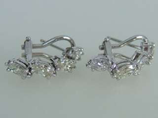 Elegant 14k. White Gold Marquise Diamond Earrings, New