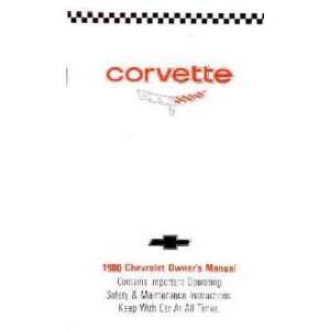 1980 CHEVROLET CORVETTE Owners Manual User Guide