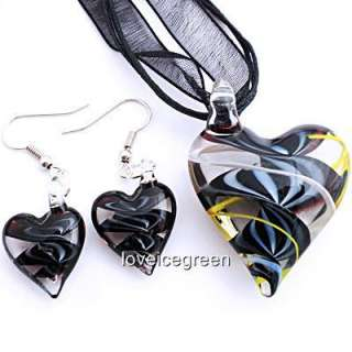 Black Heart Lampwork Murano Glass Necklace Earrings Set
