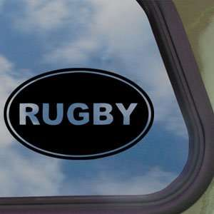 Rugby EURO OVAL Black Decal Car Truck Bumper Window