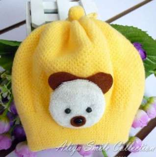 Baby Girls Crochet Hat Cute Little Bear Infant Winter Cap SZ 0 6M 5