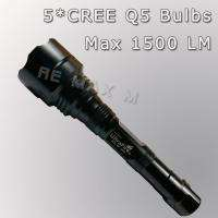 1500 Lumen 5 CREE Q5 Bulbs LED Flashlight Lamp Torch