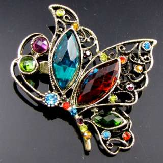 ADDL Item  antiqued rhinestone butterfly brooch pin