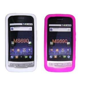 LG Optimus M690 White and Hot Pink Silicon Cases