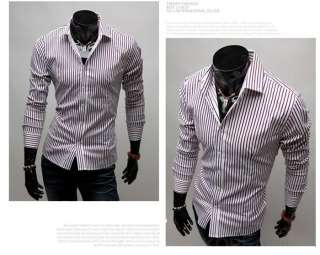 NEW Mens Fashion Stylish Slim Fit Designer Casual Romantic Striped
