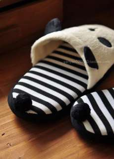 Cute Korean Panda With Tail Women Slippers Warm Soft Adorable Winter